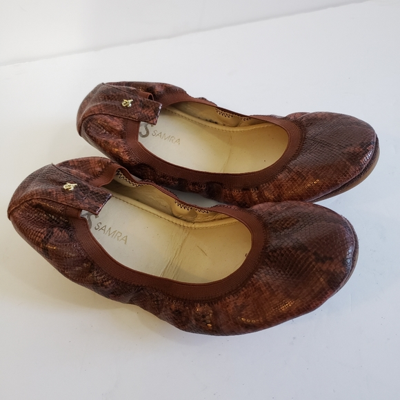 Yosi Samra Leather Python Ballet Flats Size 9